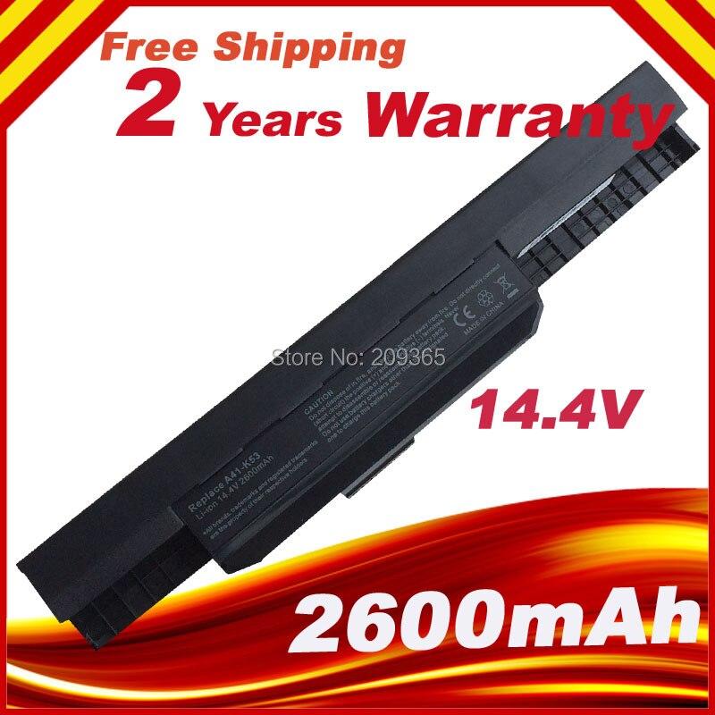 14.4V 2600mAh Laptop Battery For Asus X54F X54H X54HB X54HY X54K A31-K53 A32-K53 A41-K53 A42-K53