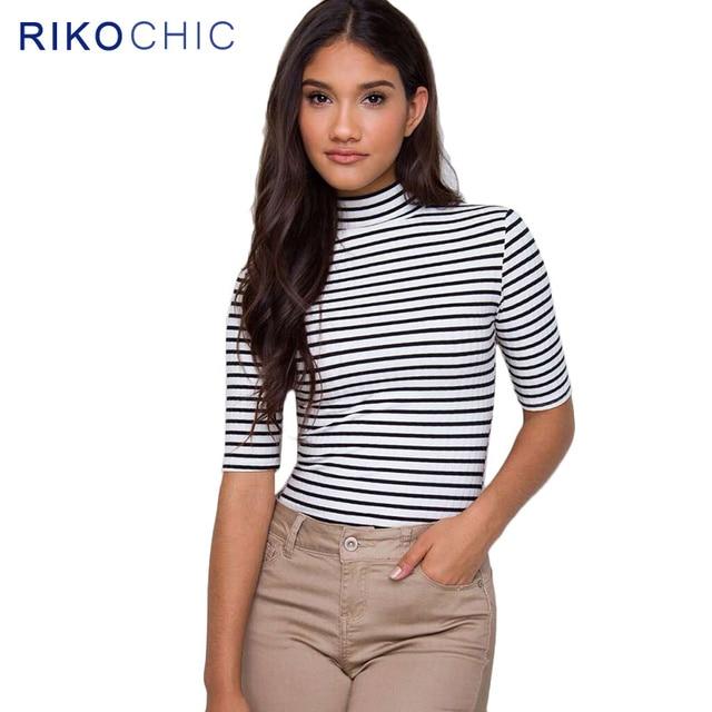 66b09d6dfcad1e 2016 Autumn Casual White Black Striped Turtleneck Tops T Shirt Women Girl Half  Sleeve Slim Cotton