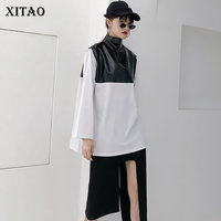XITAO Personalized Leather T Shirt Women 2019 Summer Turtleneck Patchwork Casual Pullover PU Korea Fashion Full Sleeve ZLL3198