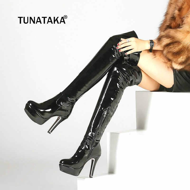 Пикантные сапоги до бедра из лакированной кожи на высоком каблуке; зимние женские сапоги выше колена; большие размеры; обувь на платформе и молнии; цвет красный, черный