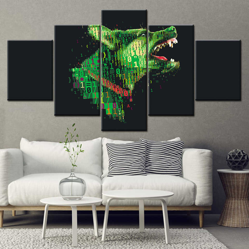 Fine Canvas Painting Abstract Art Dog Cyber Warfare Picture 5 Pieces Wall Art Painting Modular Wallpapers Poster Print Home Decor Download Free Architecture Designs Scobabritishbridgeorg