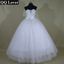 QQ Lover 2017 New Elegant Sexy Beaded Ball Gown Wedding dress Bridal Gown Custom made Plus Size Vestido De Noiva