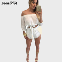 2016 Off Shoulder Women Jumpsuit Rompers Summer Two Pieces Set Sexy Short Jumpsuit White Crop Top