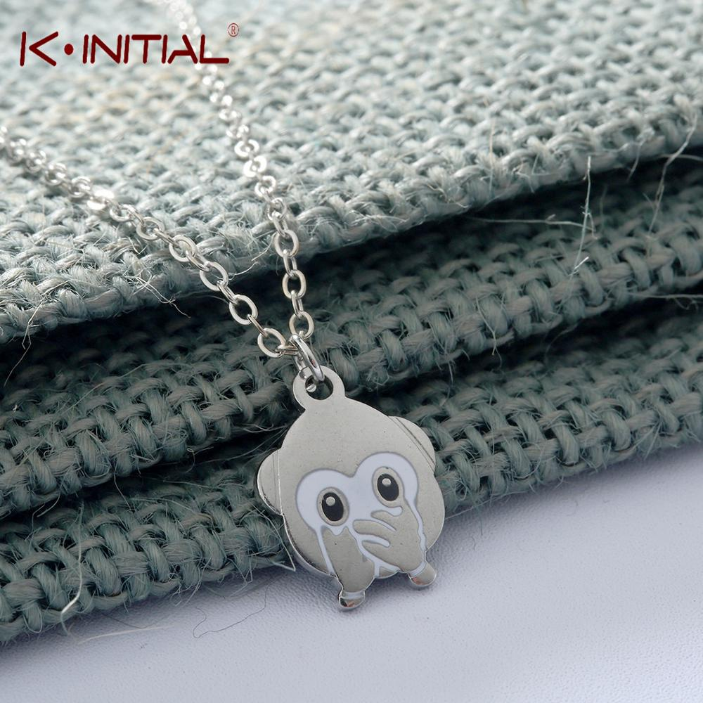 Kinitial Cute Emoji Monkey Pendant Necklaces Cover Ones Mouth Emotion Expression Fashion Stainless Steel Necklace Jewelry