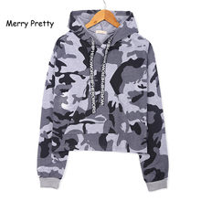 Merry Pretty Camouflage Hoodie Women Hooded Sweatshirts Loose Long Sleeve Crop Top Hoodies Pullovers Short Sexy Hoody Camo Top(China)