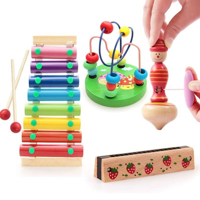 4Pcs/set Educational Wood Baby Toys Xylophone Children Multifunction Early Learning Harmonica Color New Arrival