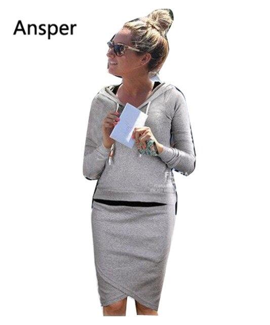 bf62aa62 1 комплект женщина повседневная женская костюм с капюшоном спортивные  костюмы комплект и юбка тянуть за Леди