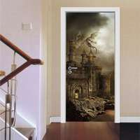 200X77cm 3D Landscape Door Sticker For Living Room Bedroom Waterproof PVC Adhesive Wallpaper Home Decor Waterproof Mural Decal