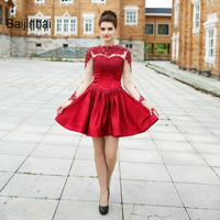 Baijinbai Pretty Women New Red A Line Homecoming Dresses 2017 Above Knee Full Sleeves Vestido De