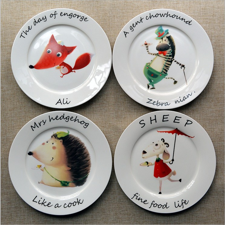 8 Inch Engorg Hedgehog Animal Bone China Cake Dishes And