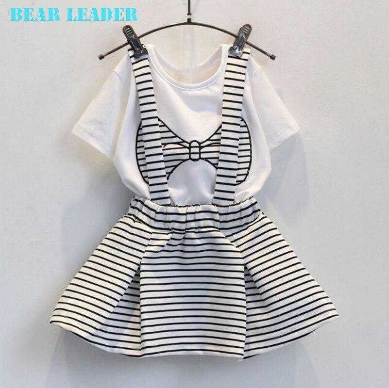 цена  Bear Leader Girls Clothes 2016 Brand Girls Clothing Sets Kids Clothes Bowknot Pattern Toddler Girl Tops+Skirt 2PCS Suit 3-7Y  онлайн в 2017 году