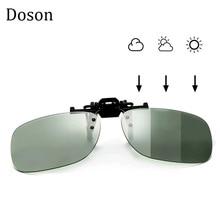 все цены на Photochromic Polarized Clip On Sunglasses Near-Sighted Driving Night Vision Lens Anti-UVA Anti-UVB Sunglasses Clip De Sol UV400 онлайн