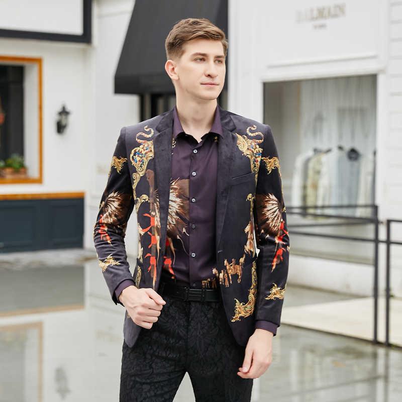 2019 Baru Gaya Eropa Pria Leisure Blazers Fashion Kasual Kain Beludru Istana Pola Pria Blazer Suits Mantel Ukuran m-4XL