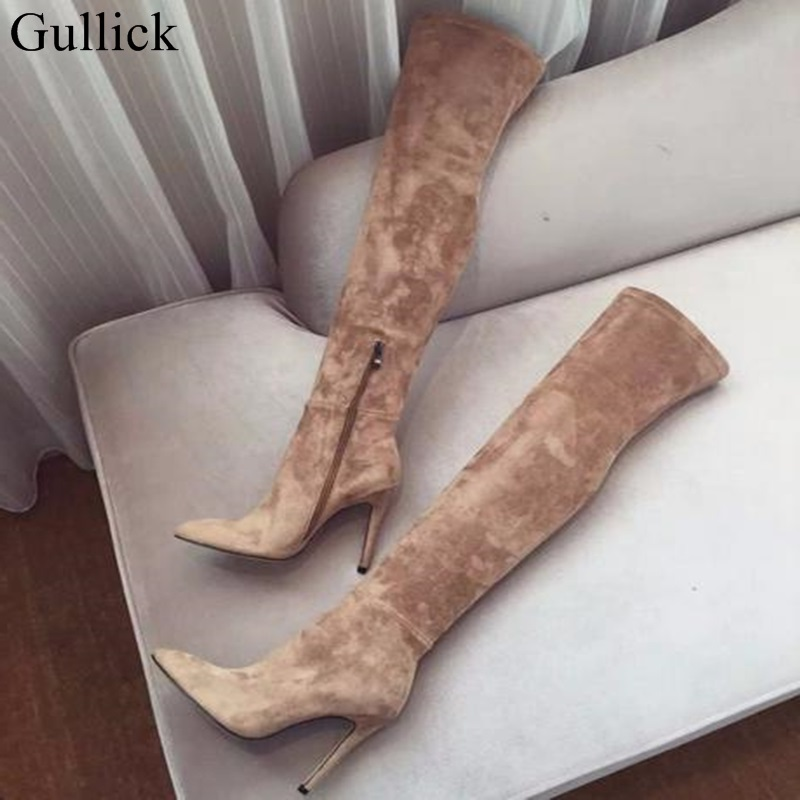 Gullick Women Winter Suede Thigh High Boots Pointed toe Over The Knee High Heel Boots Slim Fit Long Boots Women Big Size 10 sexy black suede pointed toe slim fit long boots classy women unique design metal branch thin high heel over the knee boots