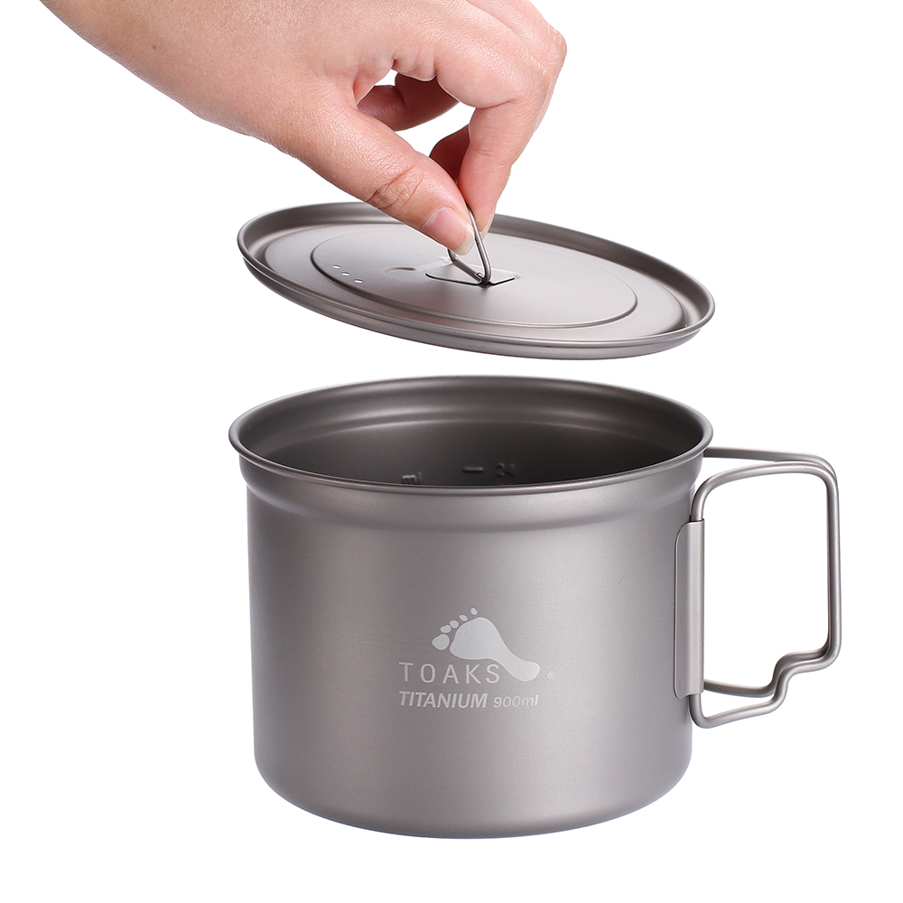 TOAKS Outdoor Titanium Cup For Camping Hiking 900ml Ultralight Titanium Pot With Cover Folded Handle POT-900-D115