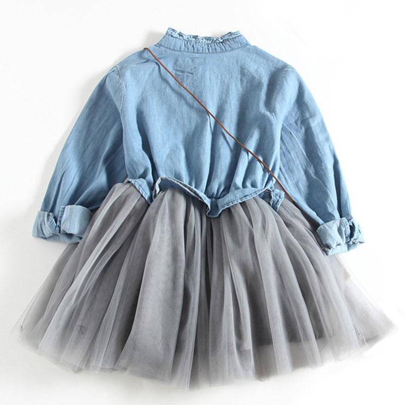 Baby Girl Dress New Autumn Long Sleeve Dresses Children Clothing Princess Dress Denim Dress Design 2 8 Years Girl Clothes Cowboy in Dresses from Mother Kids