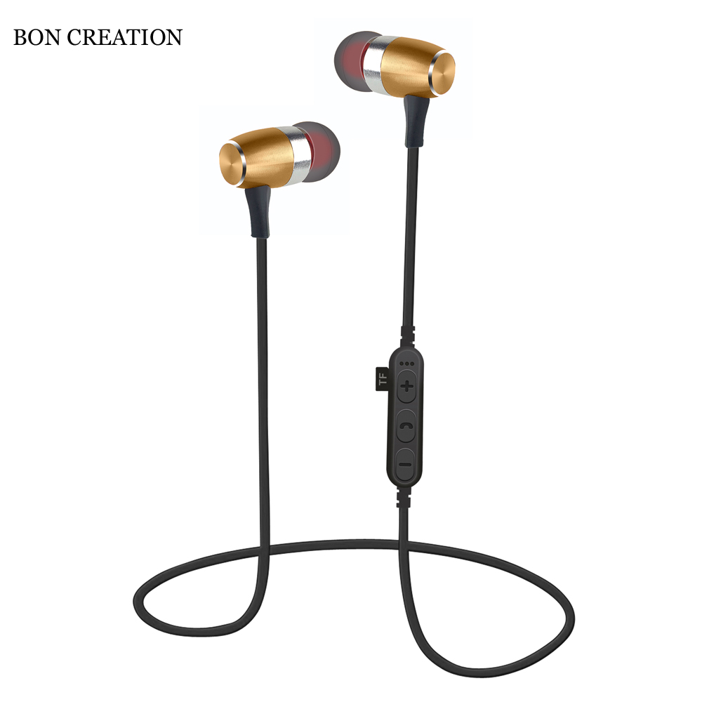 BON CREATION 2018 New Magnetic Earphone T16 Bluetooth Wireless Earphone Stereo Sport Headset Support SD Card for Samsung Xiaomi