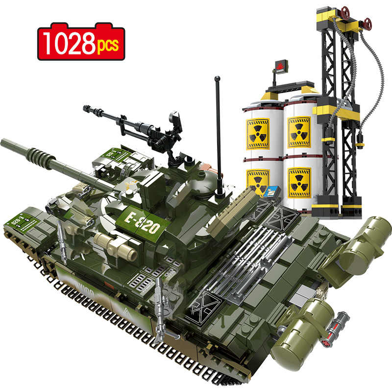 Military Russia T-72 Main Battle Tank Building Blocks Army Soldier Action Figures Bricks Kids Toys Compatible WW2 Blocks