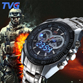 TVG 2016 Esportes Militares Relógios Mens Quartz Analógico Dual display LED relógio de pulso de aço inoxidável Relógio de Homens Do Exército relógio de Pulso