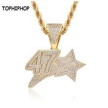 Tophiphop кулон с номером 47 звезд в стиле хип хоп ожерелье