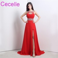 Red Chiffon Long Evening Dresses 2018 Jewel Beaded Crystals Sexy Split Teens Formal Evening Party Gowns Sexy Open Back Custom