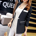 2016 New Fashion Autumn Women Slim Blazer Long Sleeve One Button Suit Ladies Blazers Work Wear White/Black Jacket Coat S-XXL