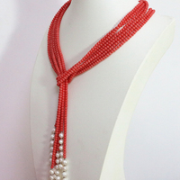 Top quality pink orange artificial coral 5mm round beads white natural pearl 3 strands charms scarf necklace 50inch B1447