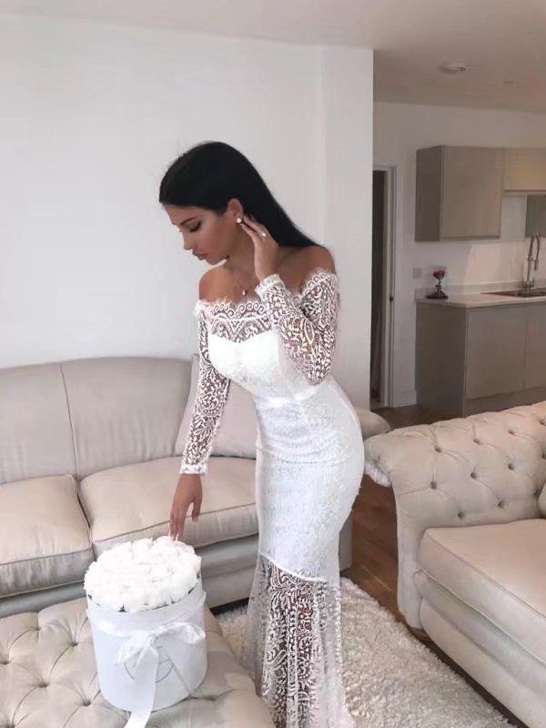 4b58b2a62f0b Novo de alta qualidade sexy lace branco longo sleeved HL3289 rabo de ...