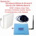 EE.UU. 4G repetidor booster 850 mhz CDMA y 4G repetidor 1900 Mhz LTE FDD amplificador para AT & T Sprint Verizon t-mobile con antena cable
