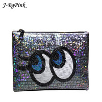 Designer Laser Silver Cltuch Bag Patent Leather Mirror Big Eyes Envelope Clutch Purse IPod Pouch Day