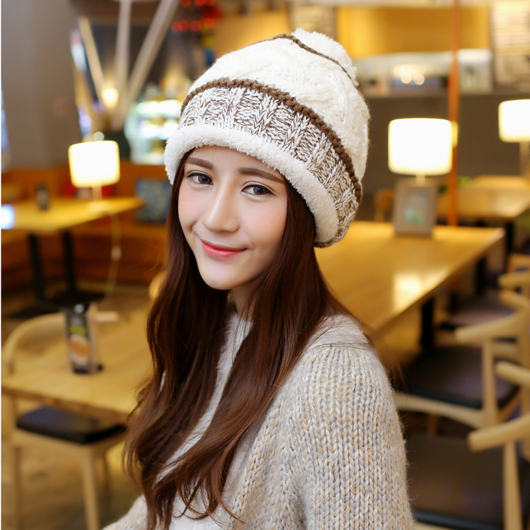 2016 Autumn Winter Striped Beanies Hat Women Knitted Wool Skullies Casual Cap Warm Hat Knit Wool Hat Beanies цены онлайн
