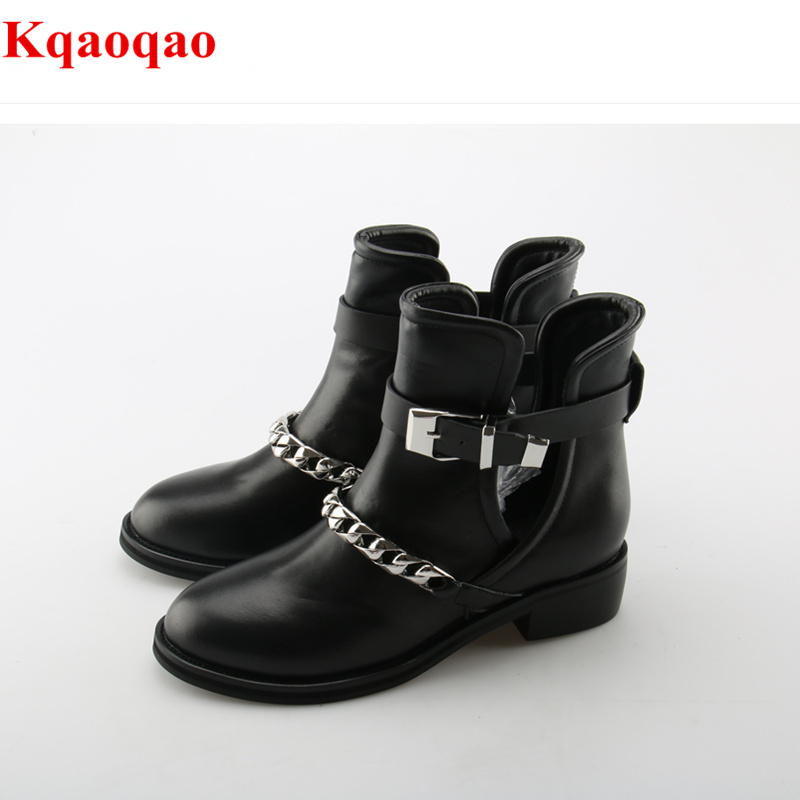 Round Toe Women Short Booties Metal Decor Design Luxury Brand Runway Shoes Chain Embellished Shoes Chaussures Femmes Med Heel