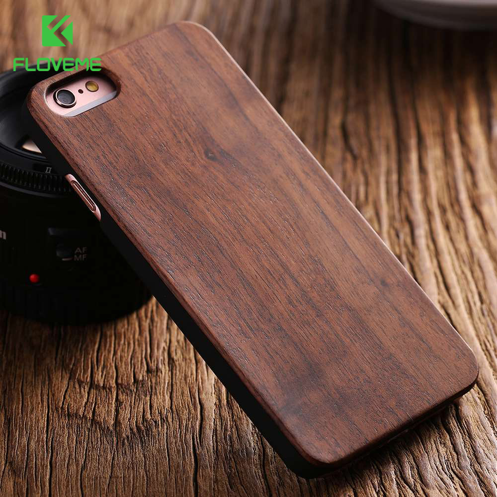 FLOVEME For IPhone 5s Case Retro Natural Wood Case For IPhone 5s SE 5 6 6S 7 8 Plus X XR XS Max Bamboo Walnut Wooden Hard Cover