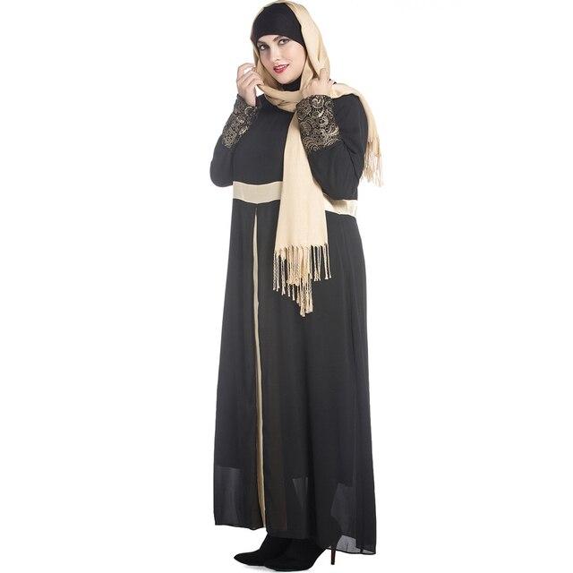 cb7d173f07ddfd Plus Size Moslim Gewaad Vrouwen Lange Mouw Jurk Maxi Abaya Islamitische  Casual Robe Kaftan Turkse Moslim