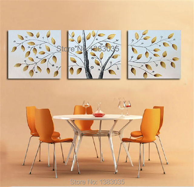 Hand Painted Abstract Tree Painting Canvas Art 3 Panel Home ...