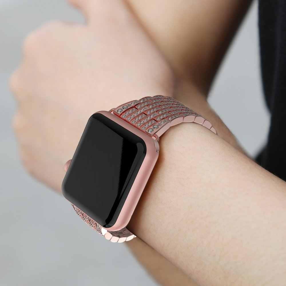 Correa de diamantes de imitación de lujo para apple watch 44mm 42mm 40mm 38mm correa de Metal de acero inoxidable para iWatch series 5 4 3 2 1