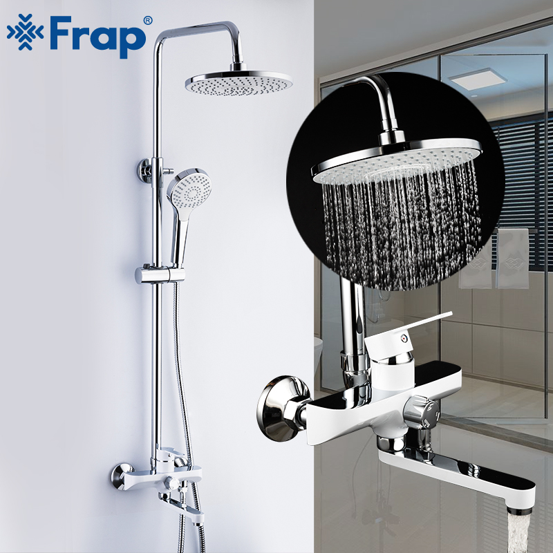 Luxury Waterfall Rainfall Brass Shower Faucet Mixers Wall Mounted Single Handle Shower Column with Handshower 3