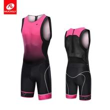 NUCKILY Triathlon Suit Women Summer Sleeveless Jersey Set Bike Uniform Quick Dry Clothing Race Cycling Swimwear One Piece MQ012