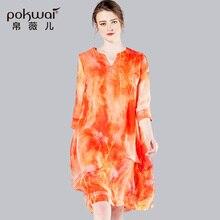POKWAI Elegant Midi Casual Summer Silk Dress Women 2017 Brand Quality Womens Clothing Three Quarter Long Sleeve V-Neck Dresses