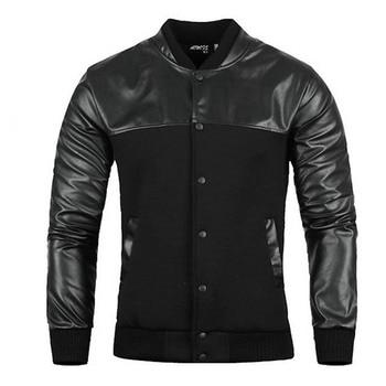 Mens Black Cardigan | HOT 2019 Autmn Winter Collar PU Patchwork Stitching Design Black Windproof Coat Cardigan Button Rib Sleeve Jacket Men M-XXXL