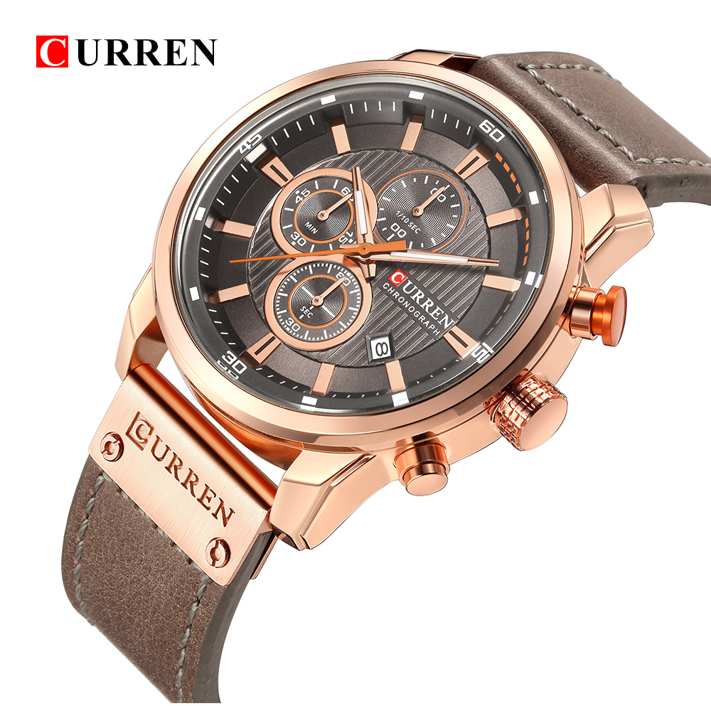 CURREN New Watches Men Luxury Brand CURREN Chronograph Men Sport Watches High Quality Leather Strap Quartz Wristwatch Relogio|Quartz Watches| |  - title=