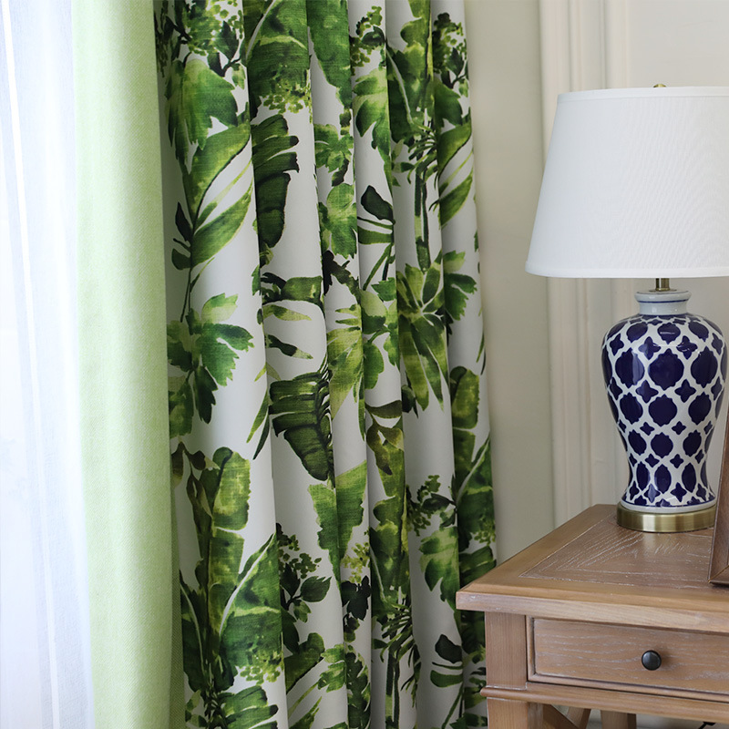 2017 Tropical Rainforest New Simple Korean Garden Fresh Cotton Printed Curtains Screens For Living Dining Room Bedroom