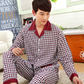 Men's autumn and winter long sleeve pajamas suits long-sleeved cardigan # Hongyun grid pajamas M