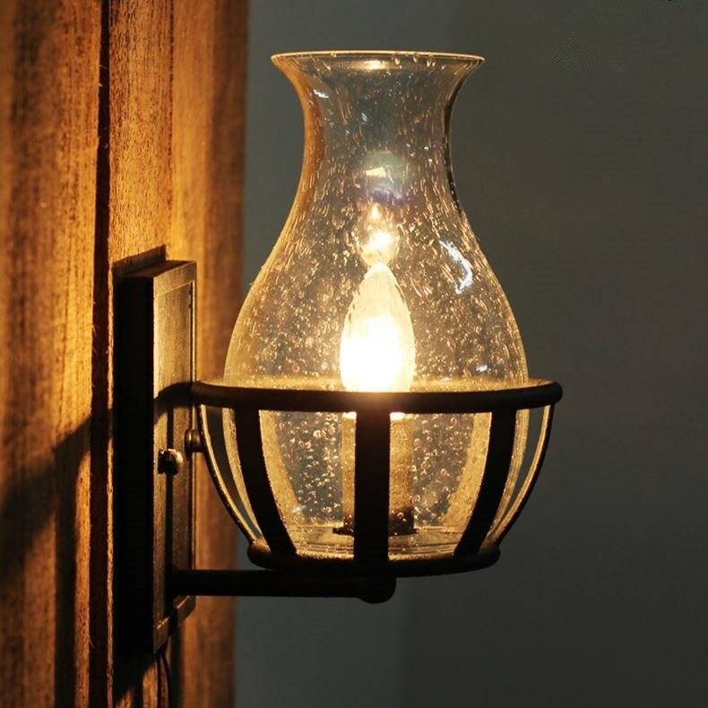 Fashion decoration antique Wall lights Glass Vase Shape vintage lantern kerosene castle wall lamp Candle Light 自宅 ワイン セラー
