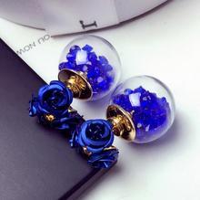 2017 New Fashion Zircon Crystal Flower Blue Earring For Piercing Double Sided Glass Ball Stud Earring Women Jewelry Multicolors