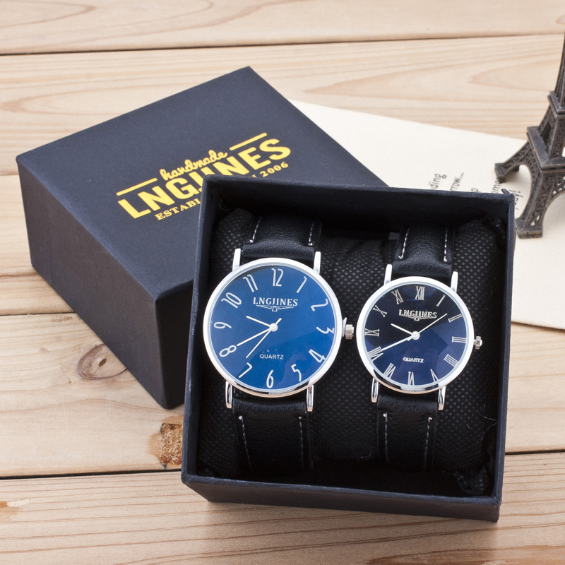 High Quality Brand Watches Couple Lovers Quartz Wristwatch Leather Black Strap Watches Men And Women Business Gift WristWatch