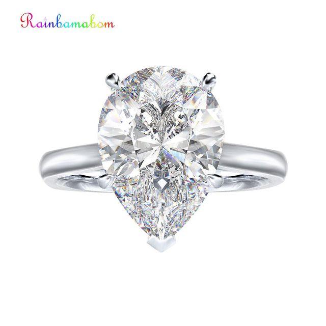00174911c48a Rainbamabom Real 925 plata esterlina Marquesa creado anillo de diamantes  piedras preciosas Esmeralda Anillos De Compromiso venta al por mayor joyería