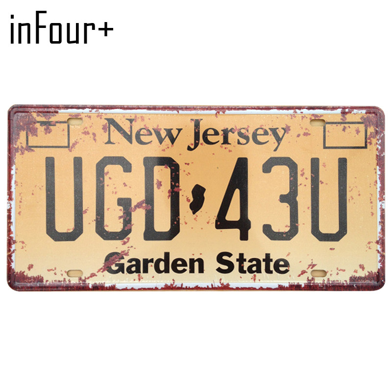 [inFour+] UGD-43U License Plate Metal Plate Car Number Tin Sign Bar Pub Cafe Home Decor Metal Sign Garage Painting Plaques Signs