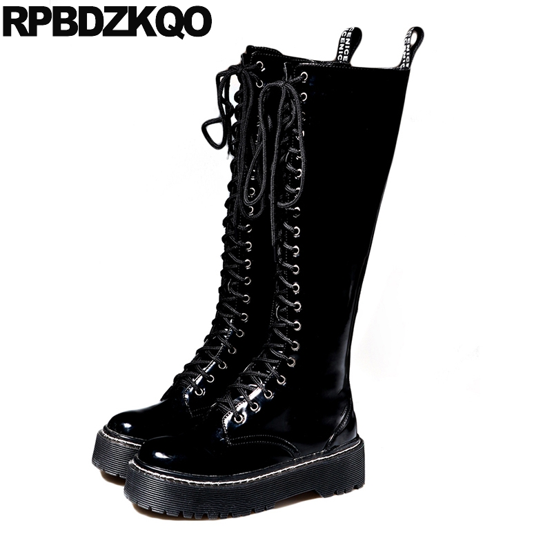 1403dff7058 Harajuku Fur Waterproof Winter Boots Women Patent Leather Platform ...