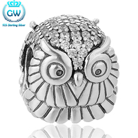European 925 Sterling Silver Charm Vintage Silver Crystal Owl Beads Bracelet Jewelry Silver 925 Real Silver
